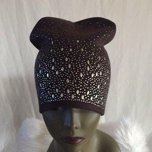 Brown Crystal Embellished Beanie Hat